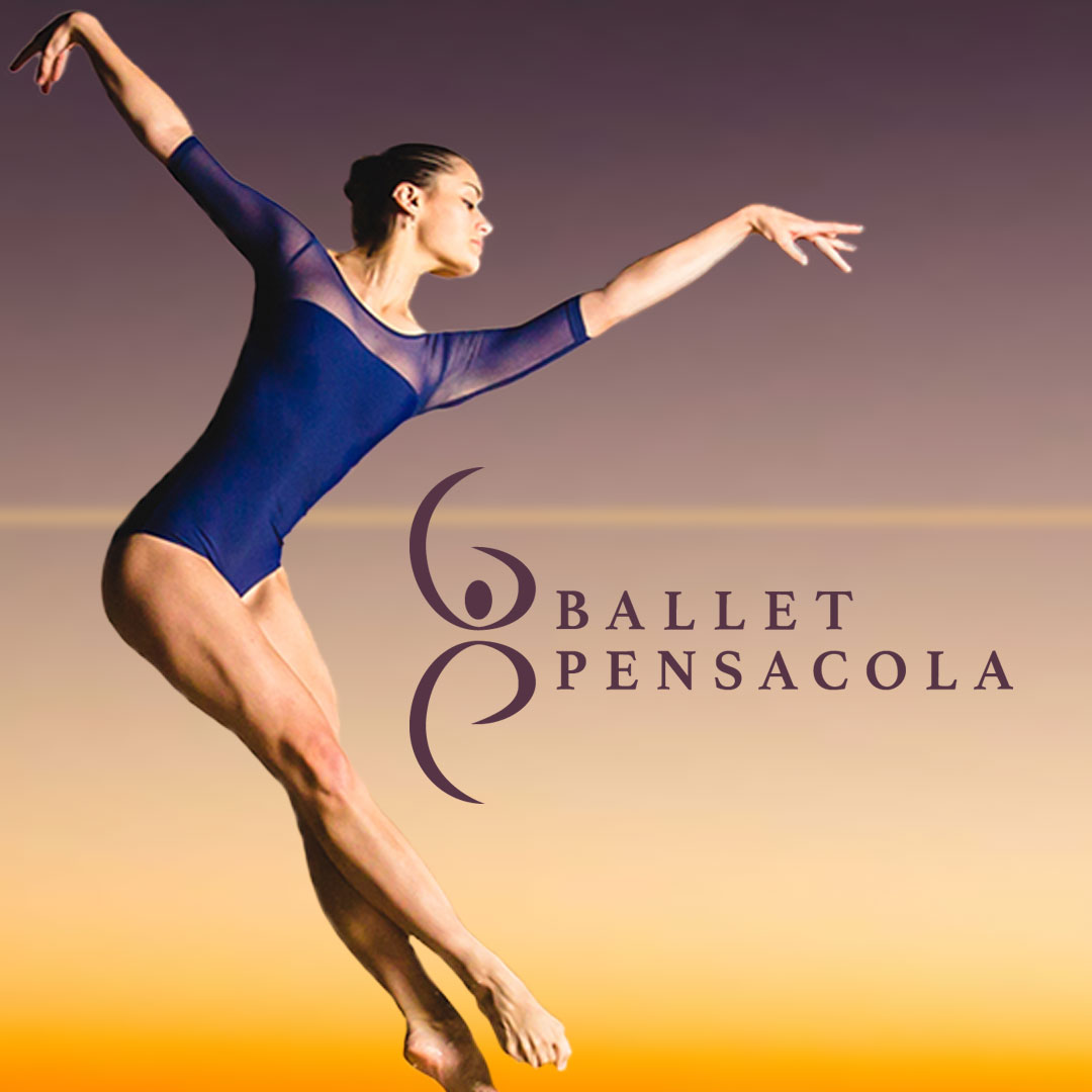 A Ballerina jumping in the air and the Ballet Pensacola logo