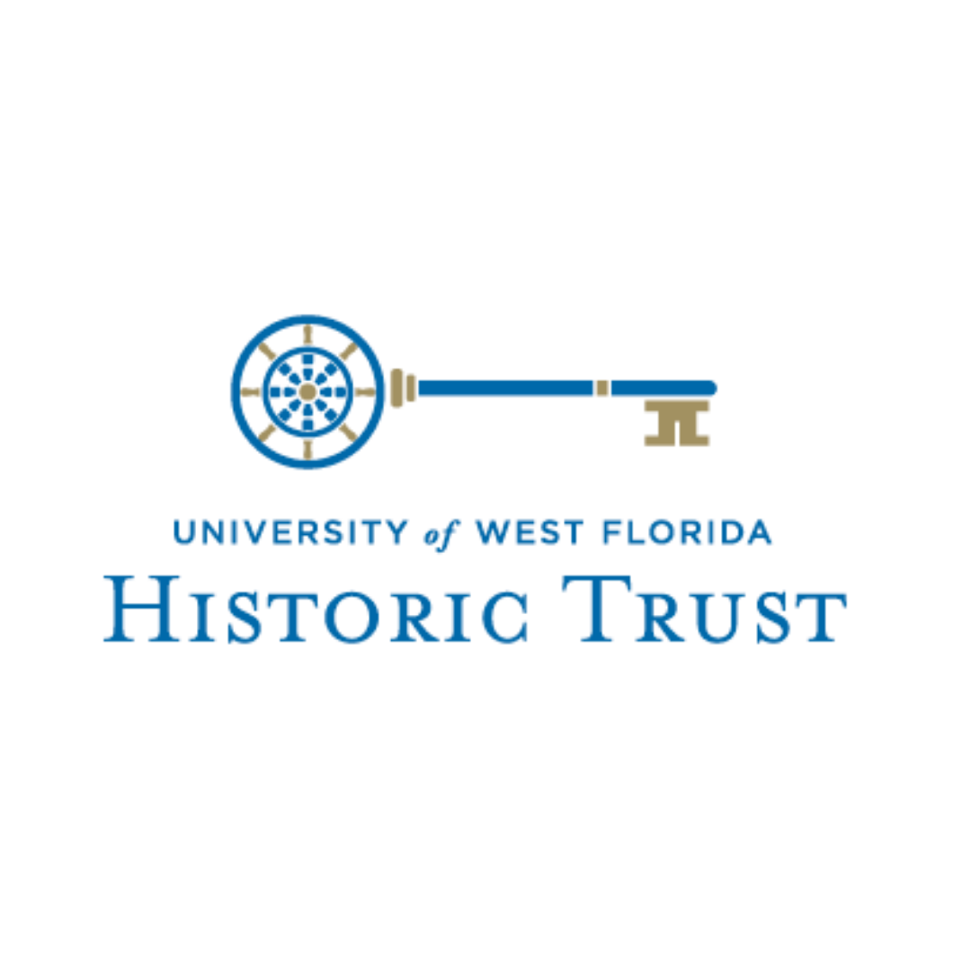 University of West Florida Historic Trust logo, features a blue antique key with compass and golden accents