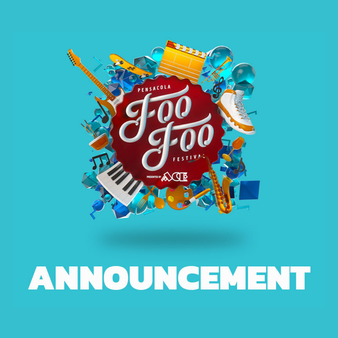 Foof Foo Festival logo in a blue box and below it is the word Announcement